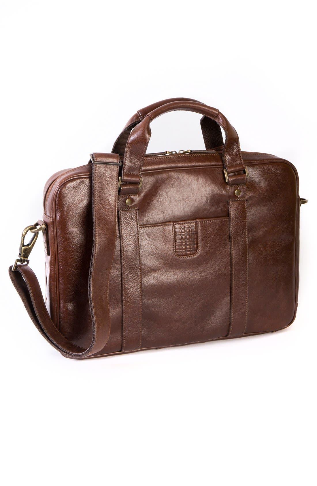 'Becker' Leather Briefcase,                             Alternate thumbnail 6, color,                             Whiskey W/ Khaki