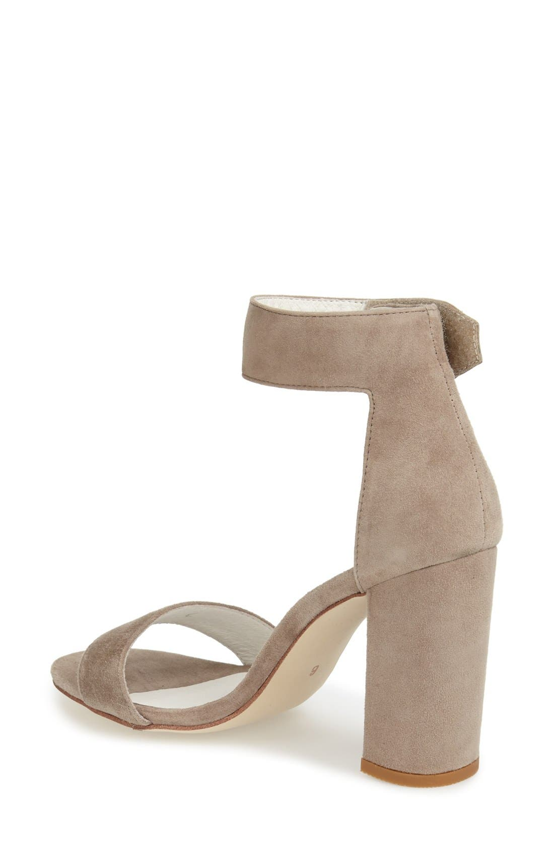 'Lindsay' Ankle Strap Sandal,                             Alternate thumbnail 2, color,                             Taupe Suede