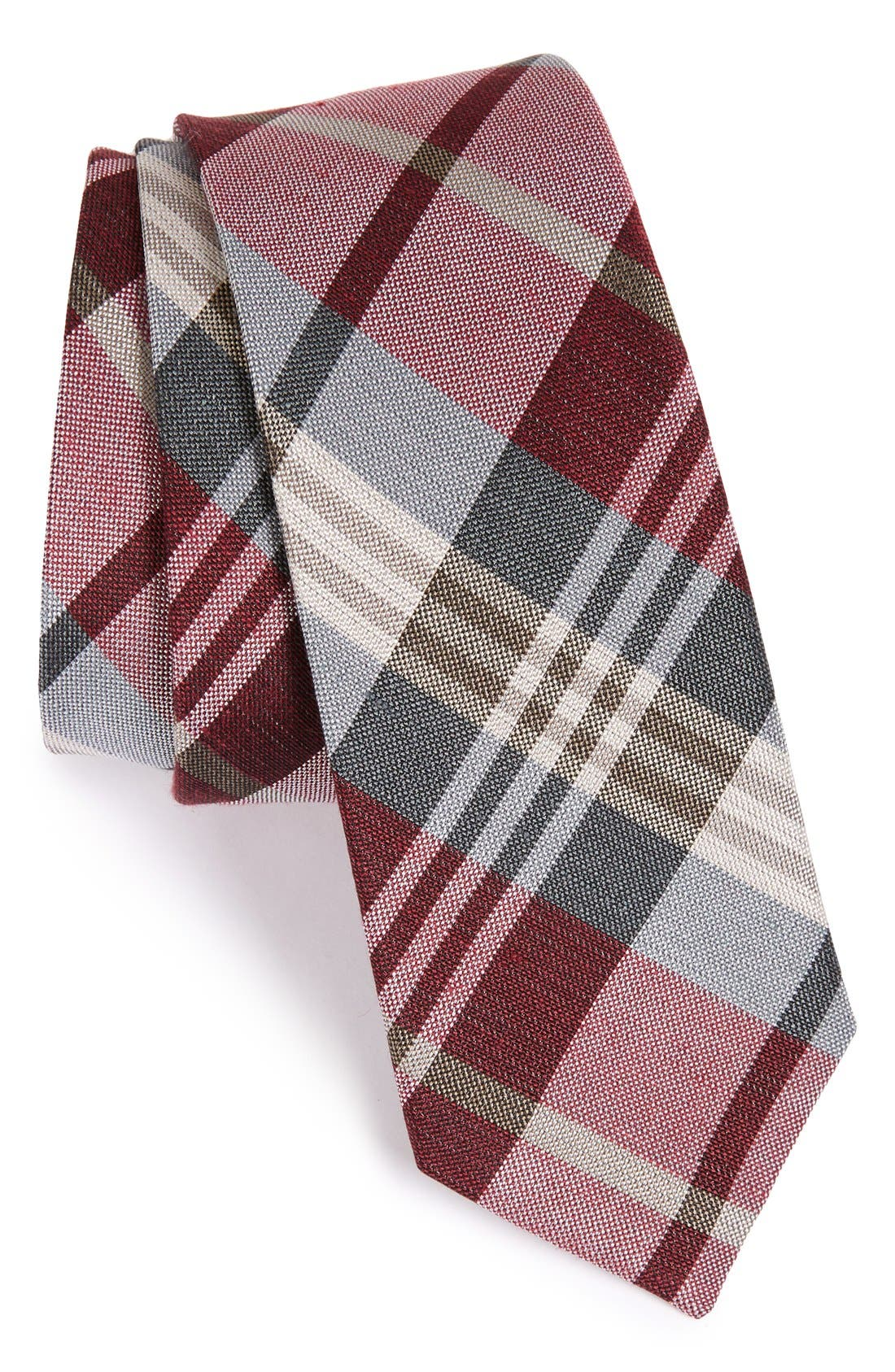 Plaid Silk & Linen Tie,                         Main,                         color, Burgundy