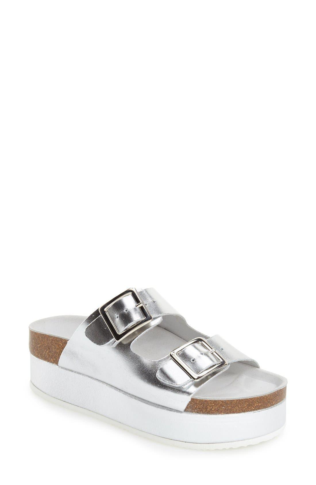 'Fang' Platform Sandal,                             Main thumbnail 1, color,                             Silver Multi