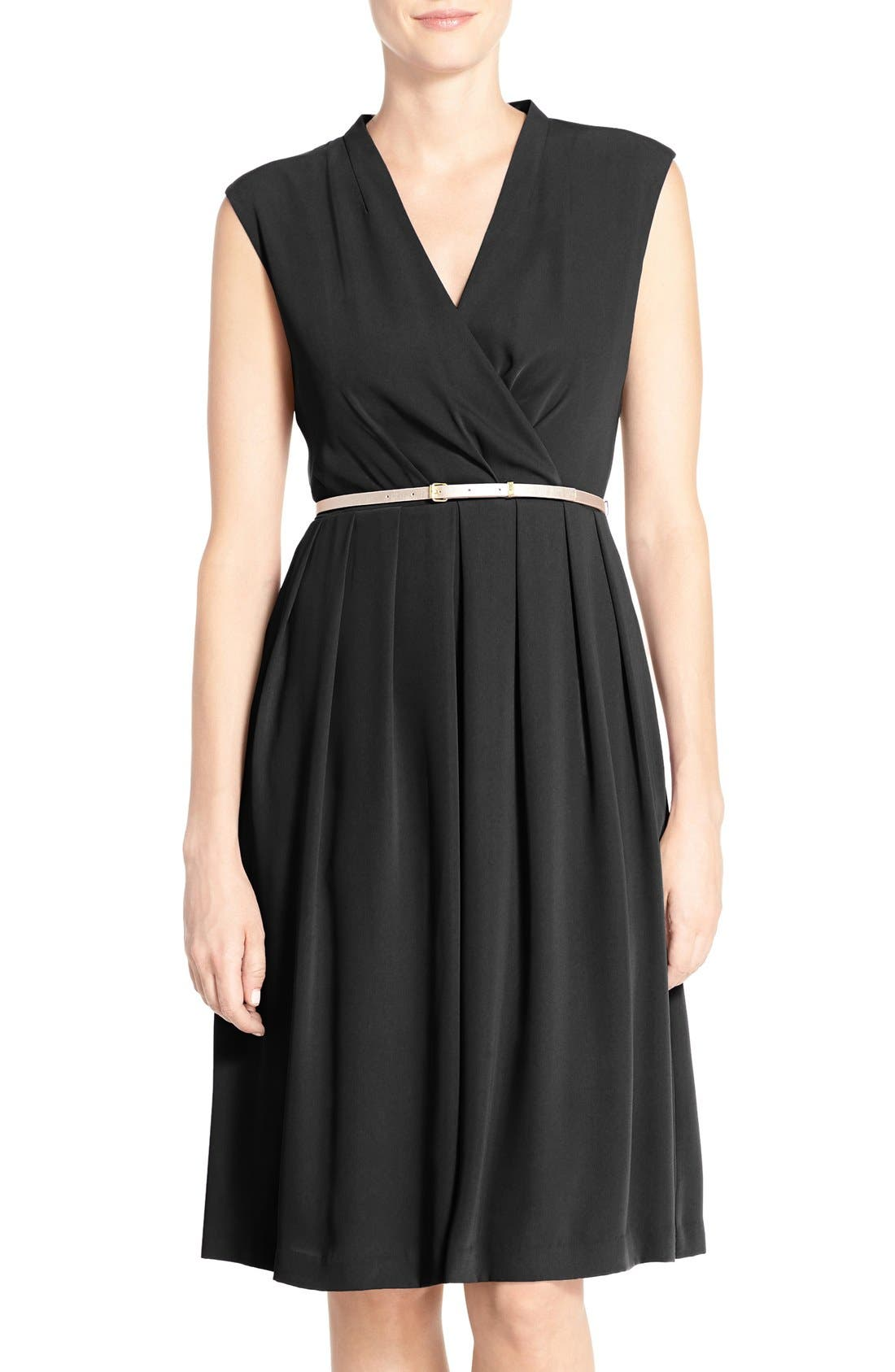 Belted Woven Fit & Flare Dress,                             Main thumbnail 1, color,                             Black