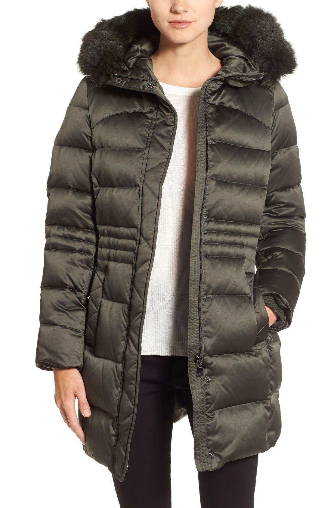 Sachi Down Coat with Genuine Fox Fur Trim