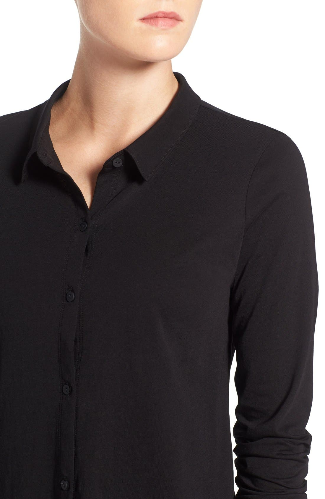 Organic Cotton Jersey Classic Collar Shirt,                             Alternate thumbnail 4, color,                             Black