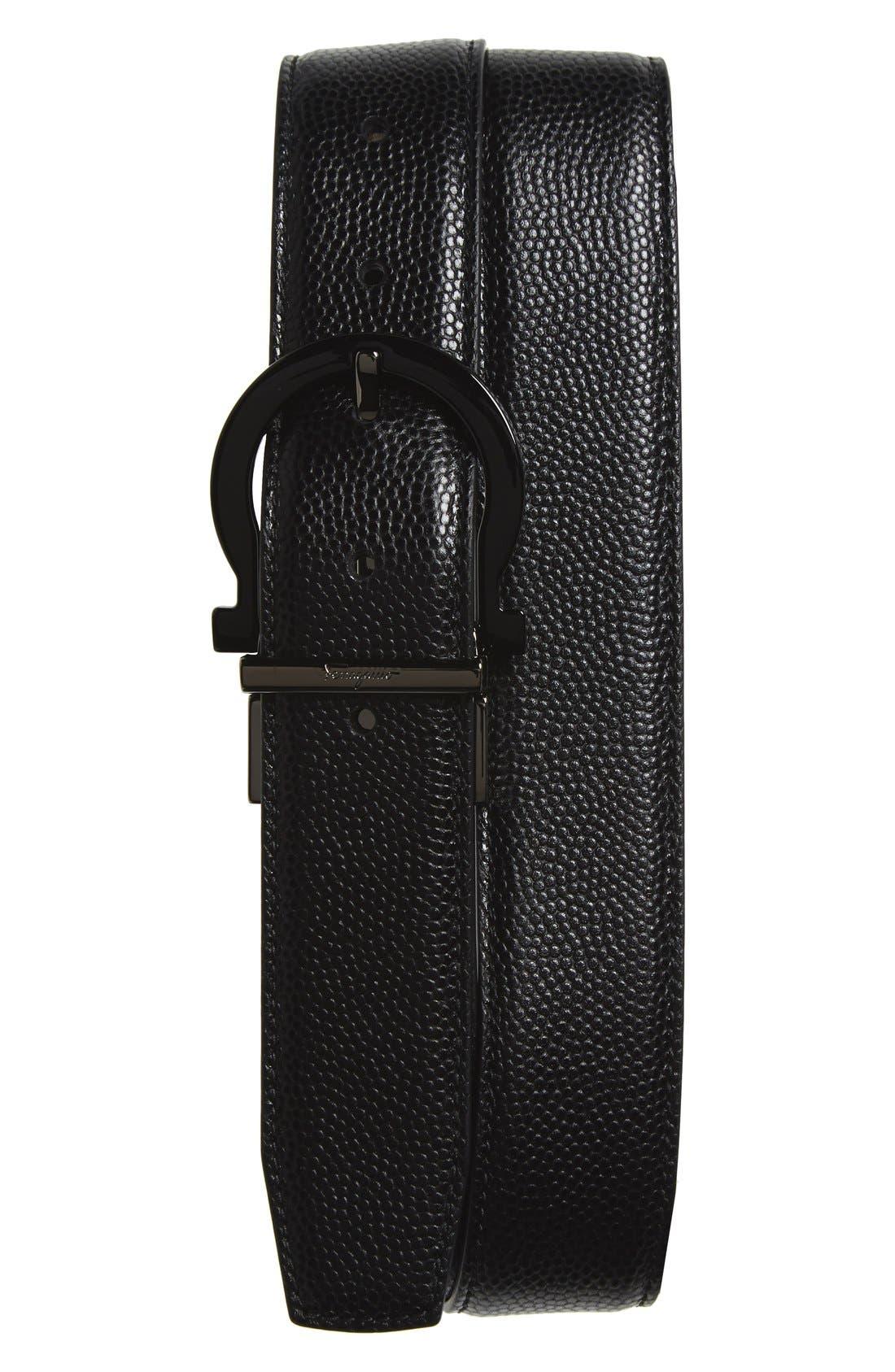 Reversible Calfskin Leather Belt,                         Main,                         color, Nero