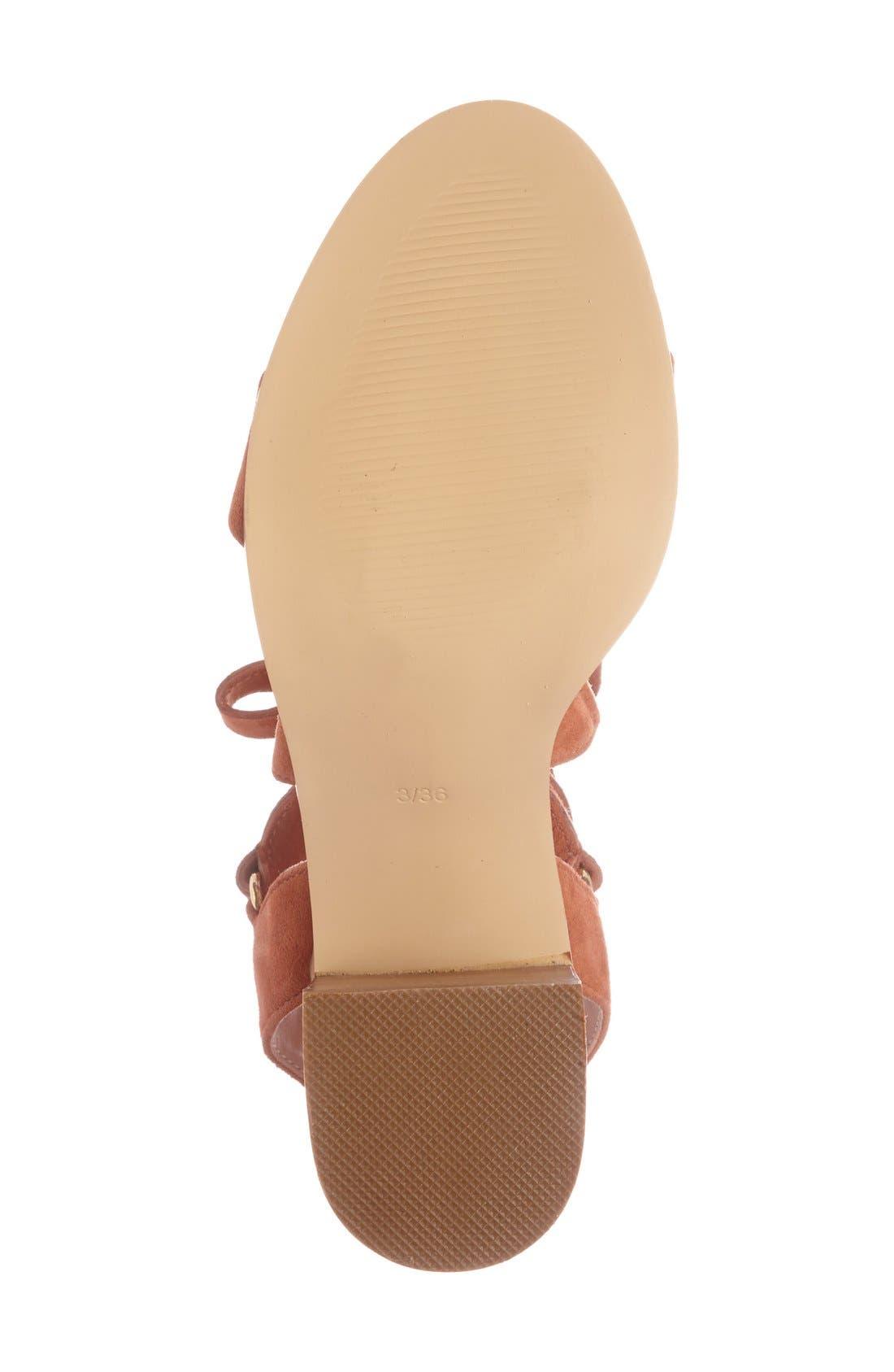 'Nadra' Lace-Up Sandal,                             Alternate thumbnail 4, color,                             Orange Suede