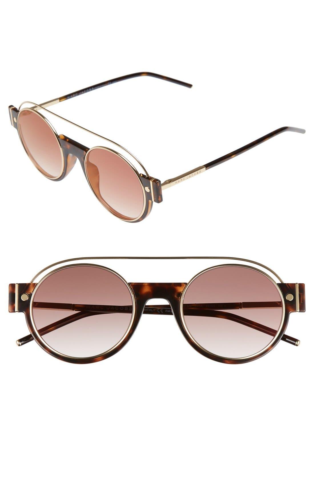 49mm Round Sunglasses,                         Main,                         color, Dark Havana