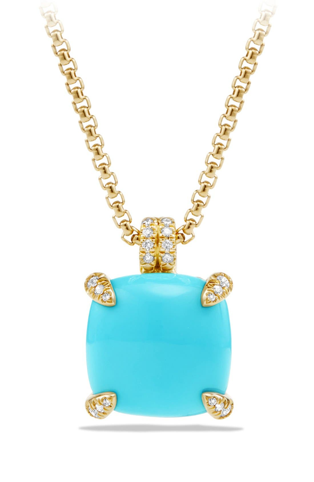'Châtelaine' Pendant Necklace with Diamonds in 18K Gold,                         Main,                         color, Turquoise