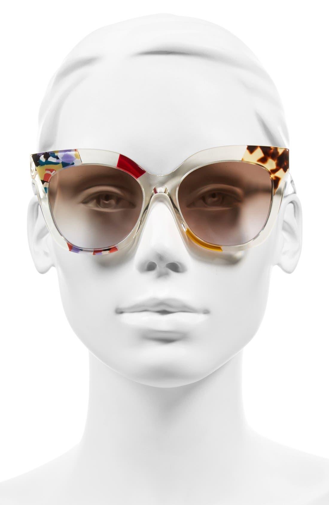 53mm Retro Sunglasses,                             Alternate thumbnail 2, color,                             Honey/ Crystal