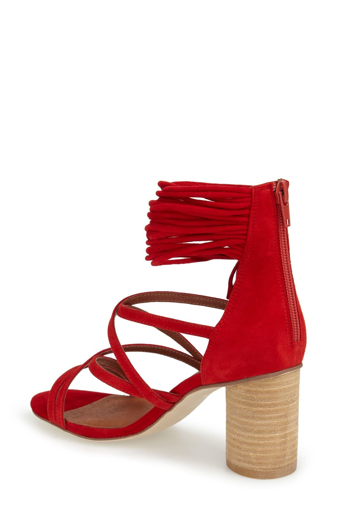 'Despina' Strappy Sandal,                             Alternate thumbnail 2, color,                             Red Suede