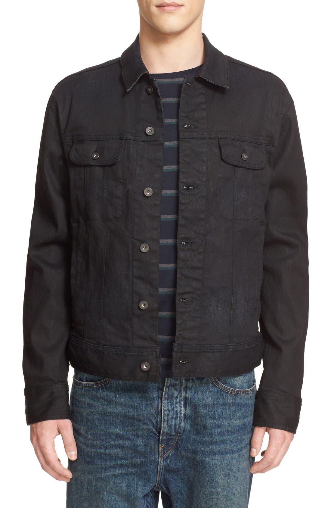 Denim Jacket,                         Main,                         color, Worn Black
