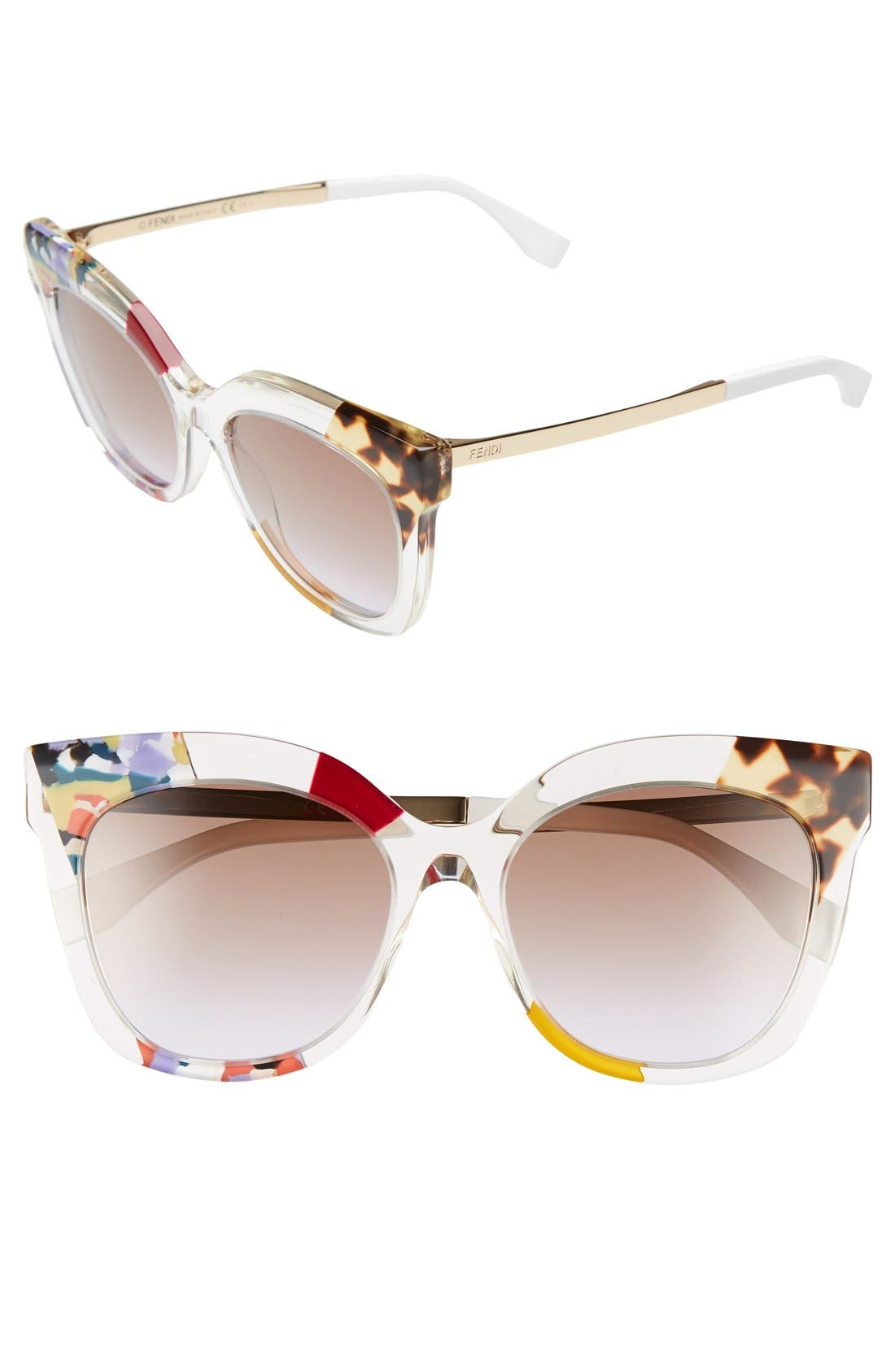 53mm Retro Sunglasses,                             Main thumbnail 1, color,                             Honey/ Crystal