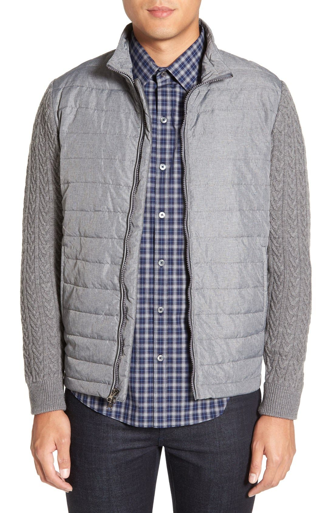 'Beacon' Trim Fit Quilted Cable Knit Zip Sweater,                             Main thumbnail 1, color,                             Grey