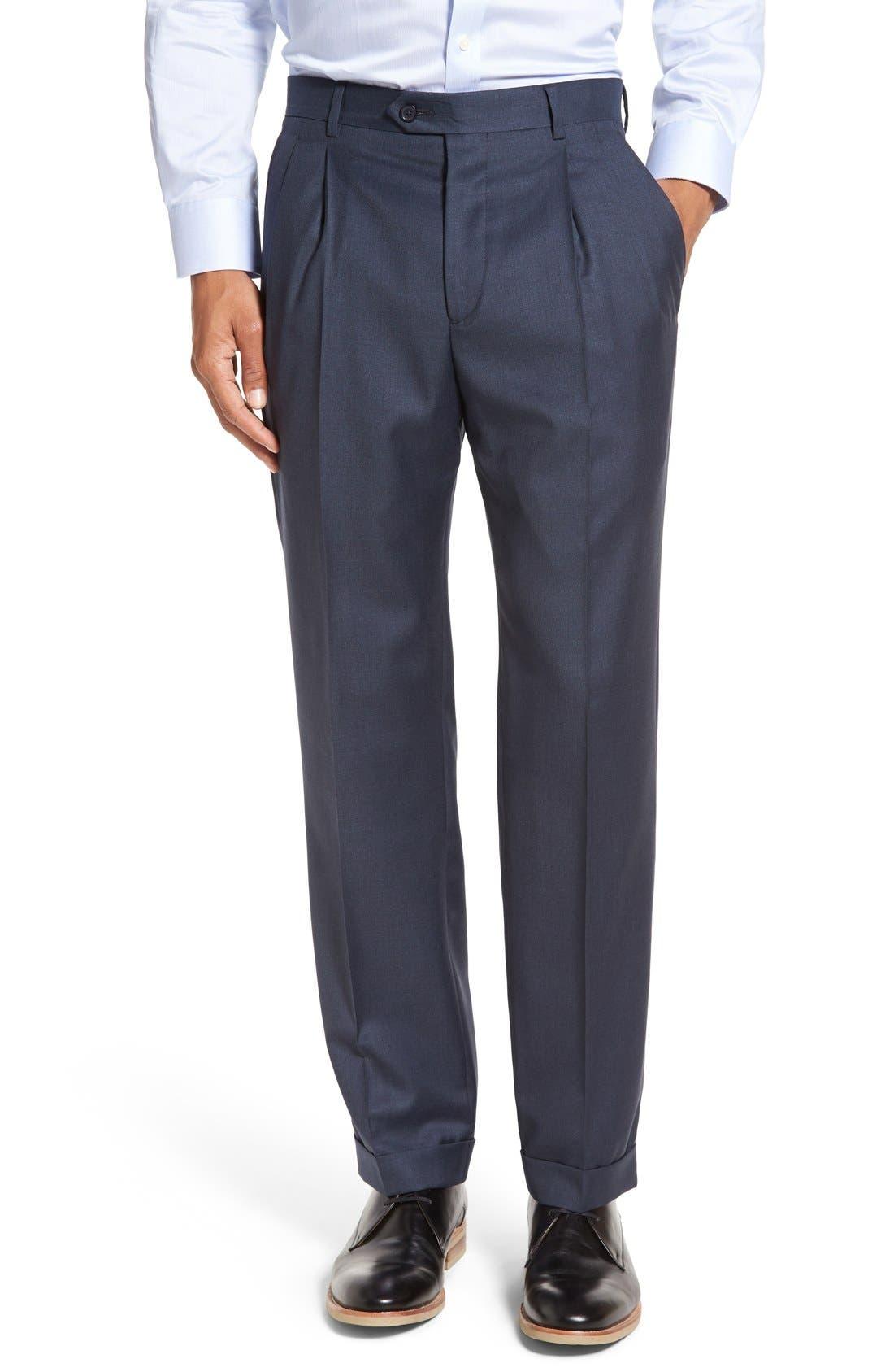 'Luxury Serge' Double Pleated Wool Trousers,                         Main,                         color, Medium Blue