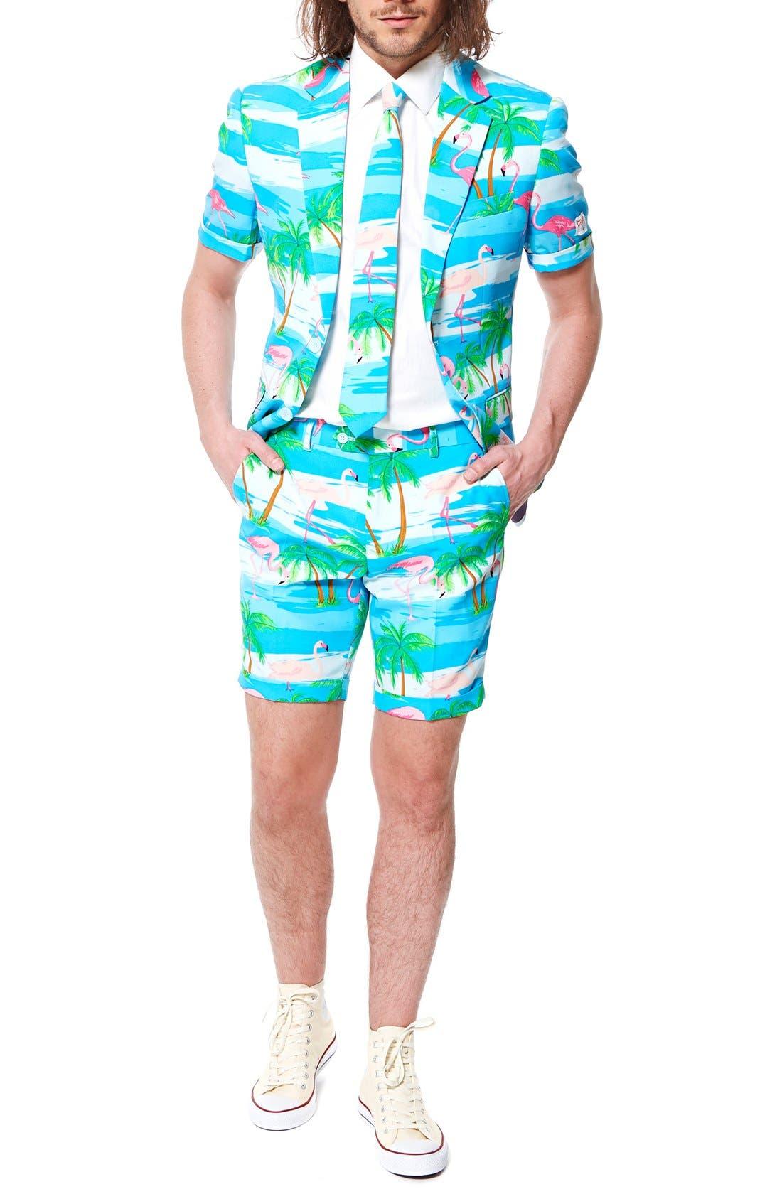 'Flaminguy - Summer' Trim Fit Two-Piece Short Suit with Tie,                         Main,                         color, Blue