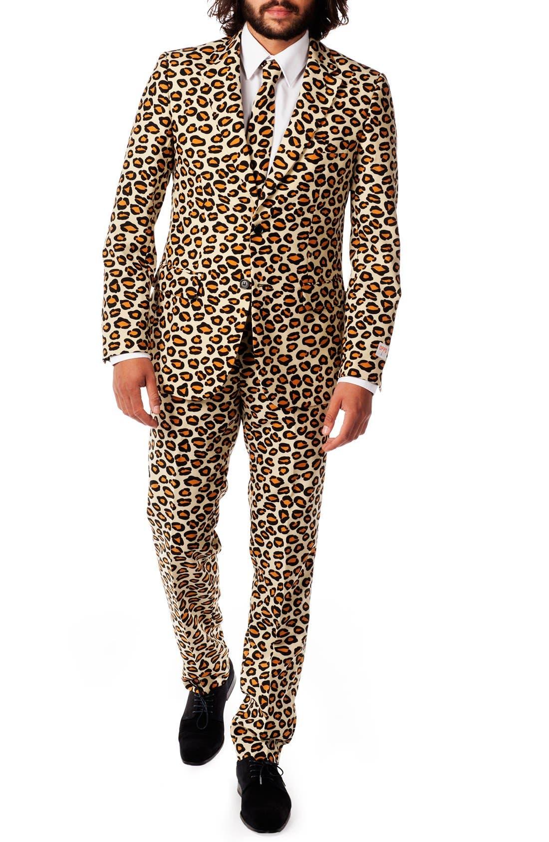 'The Jag' Trim Fit Two-Piece Suit with Tie,                             Main thumbnail 1, color,                             Dark Beige