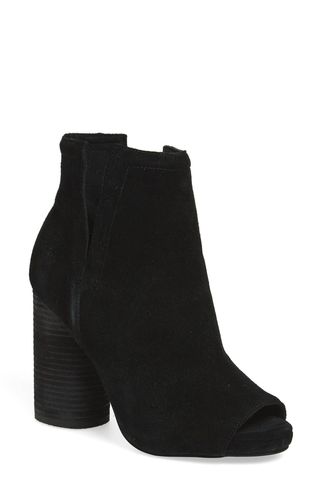 'Oath' Peep Toe Platform Bootie,                             Main thumbnail 1, color,                             Black Oiled Suede