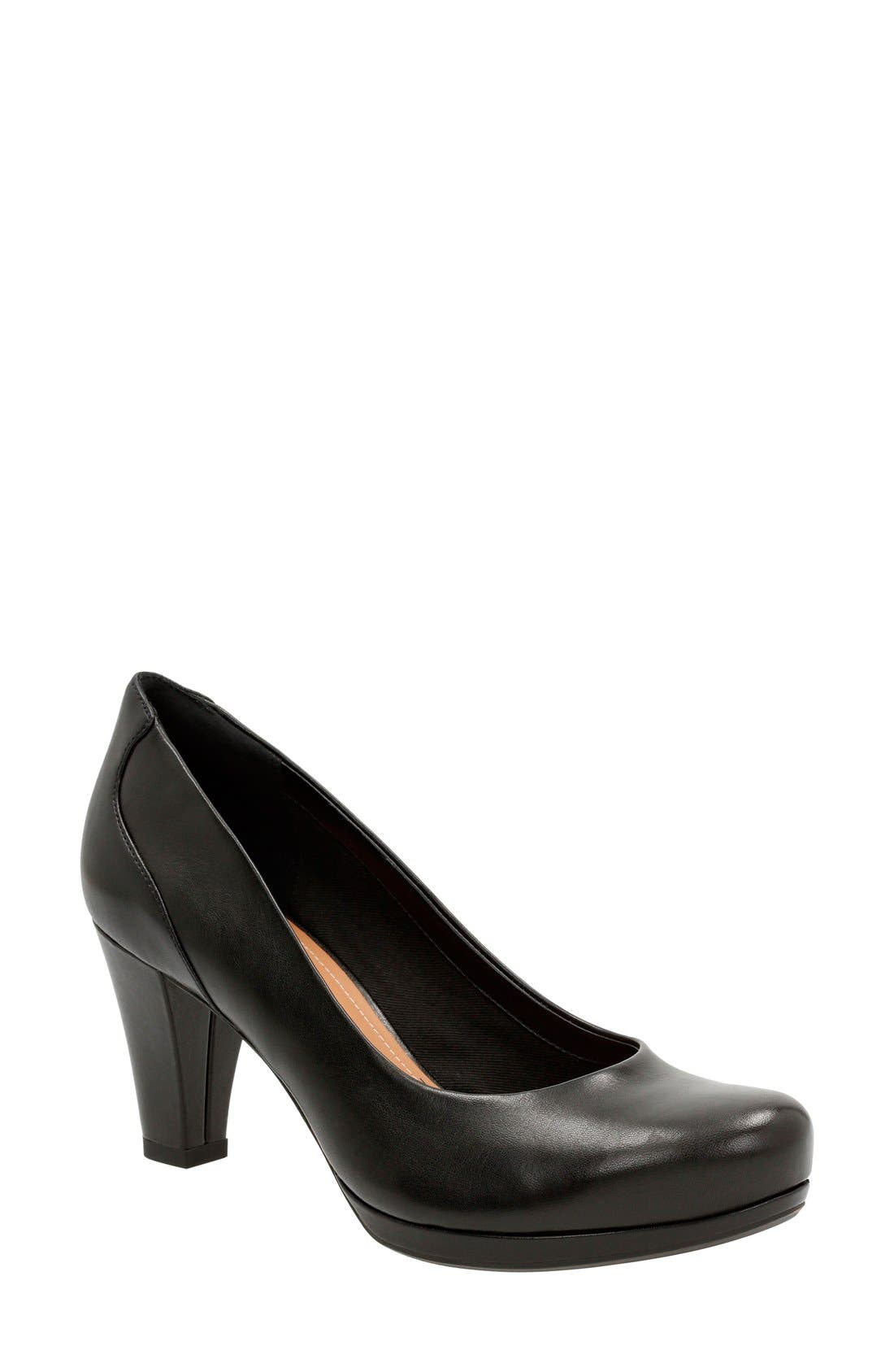 'Chorus Chic' Round Toe Pump,                             Main thumbnail 1, color,                             Black Leather
