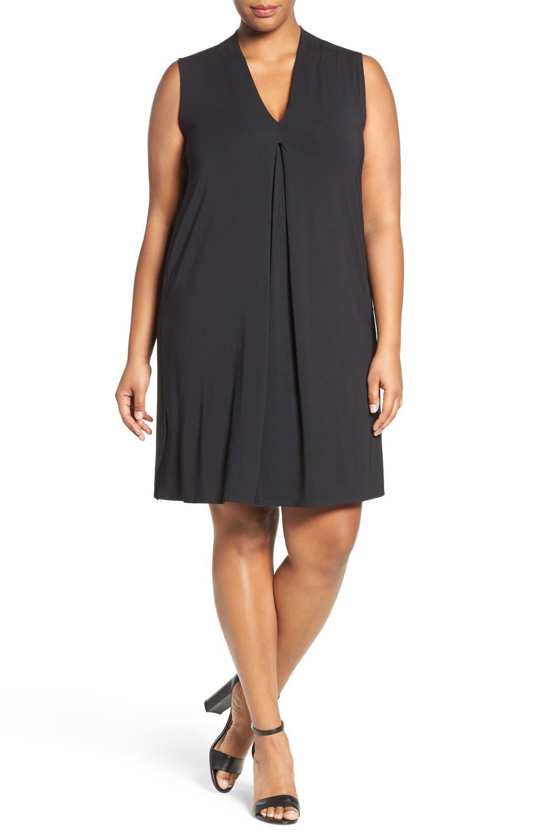 'Tara' Print Jersey A-Line Dress,                             Alternate thumbnail 4, color,                             Black