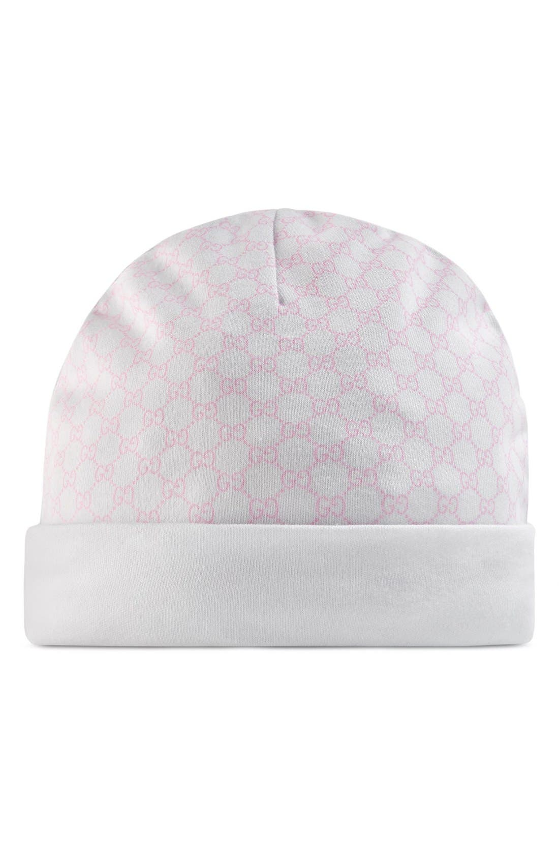 Alternate Image 1 Selected - Gucci Logo Pattern Knit Cap (Baby Girls)