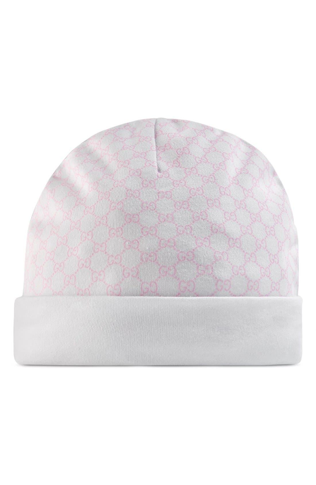 Logo Pattern Knit Cap,                         Main,                         color, Ivory/ Pink
