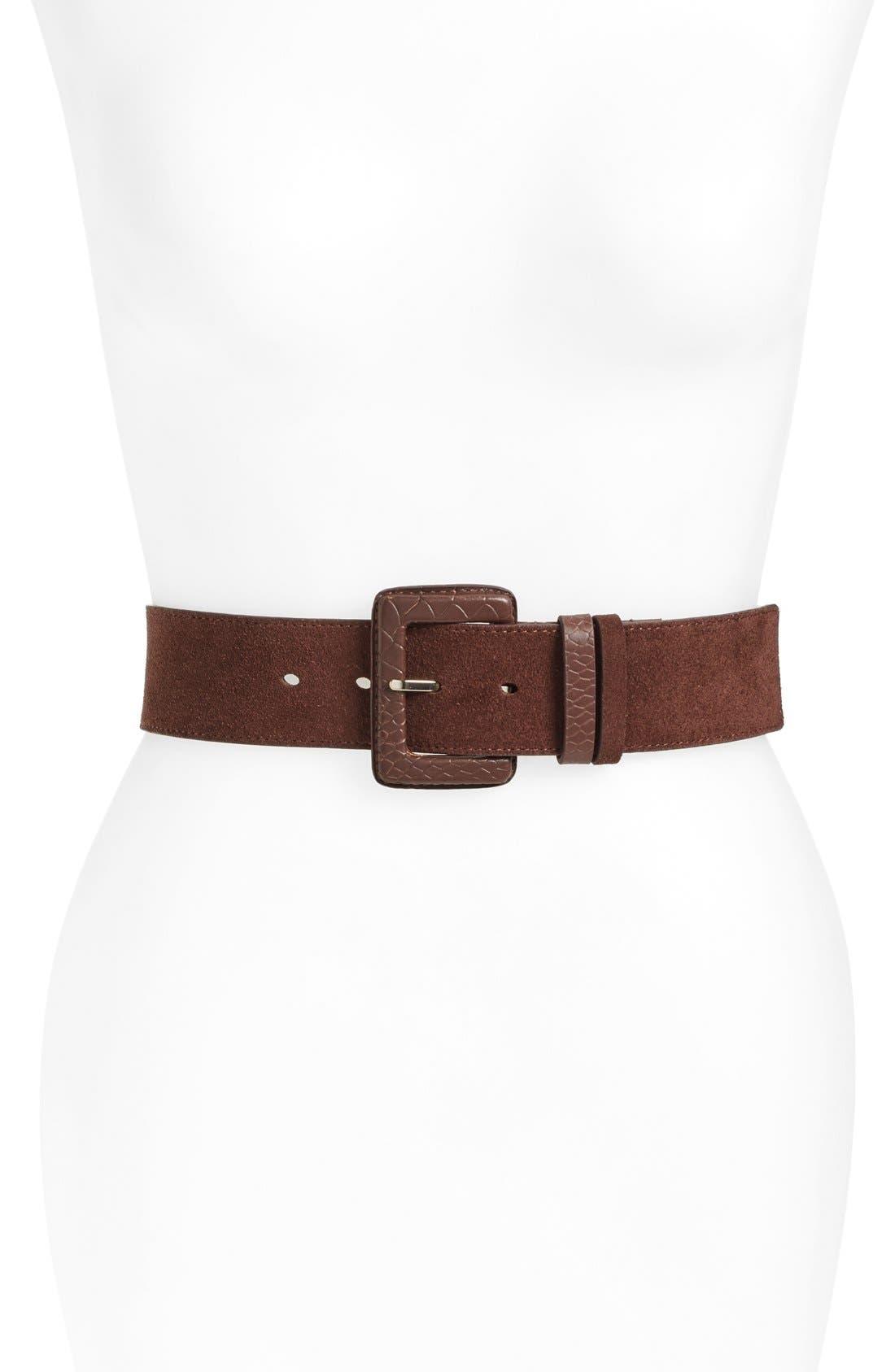 Alternate Image 1 Selected - Halogen® Embossed Buckle Suede Belt