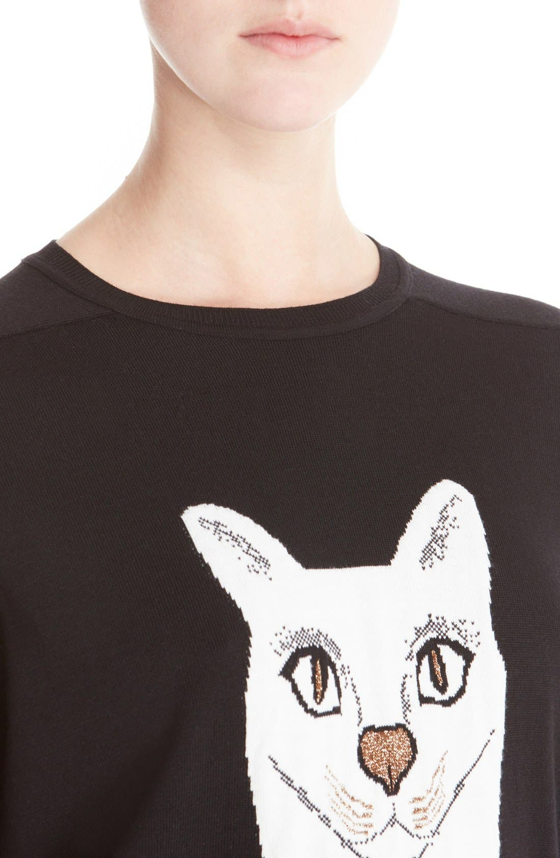 Wool Blend Intarsia Sweater,                             Alternate thumbnail 5, color,                             Black