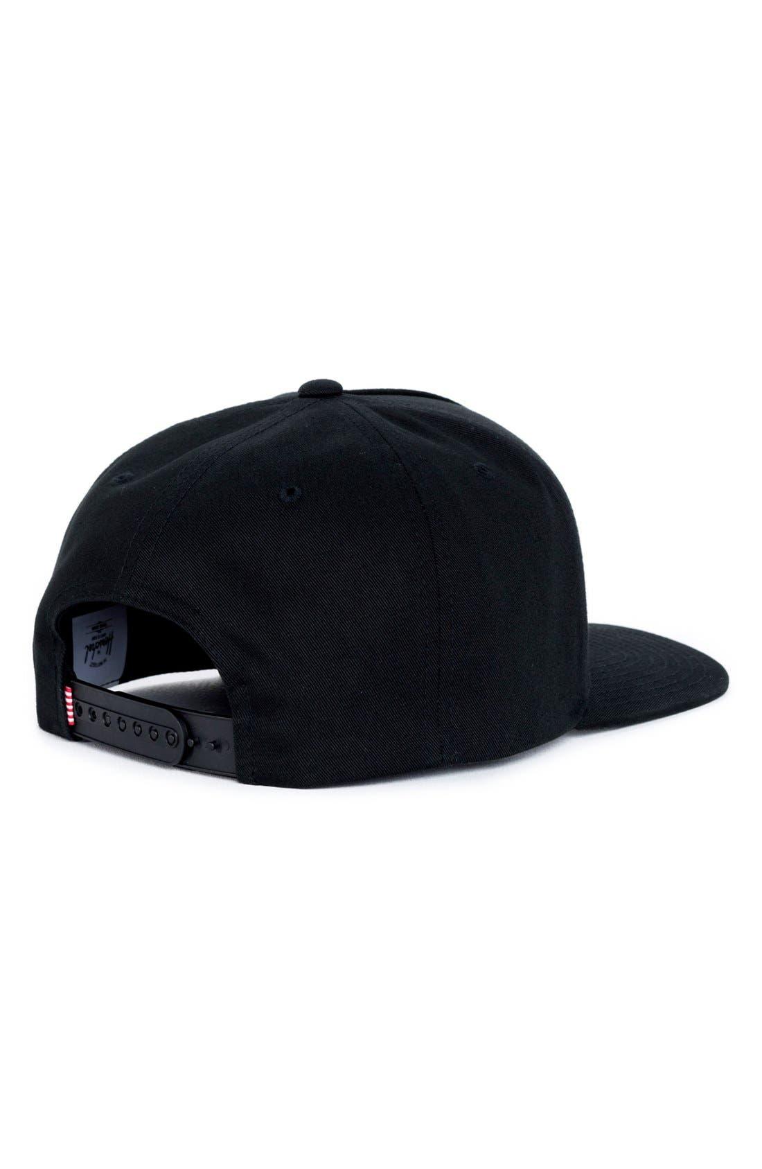 Whaler Snapback Baseball Cap,                             Alternate thumbnail 2, color,                             Black