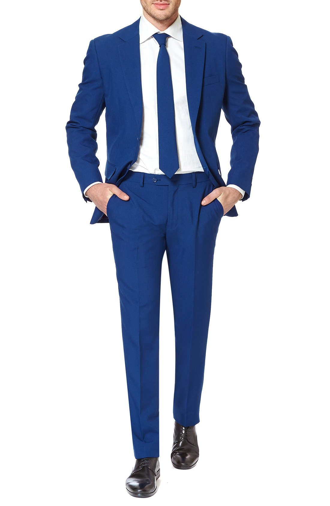 OppoSuits 'Navy Royale' Trim Fit Two-Piece Suit with Tie