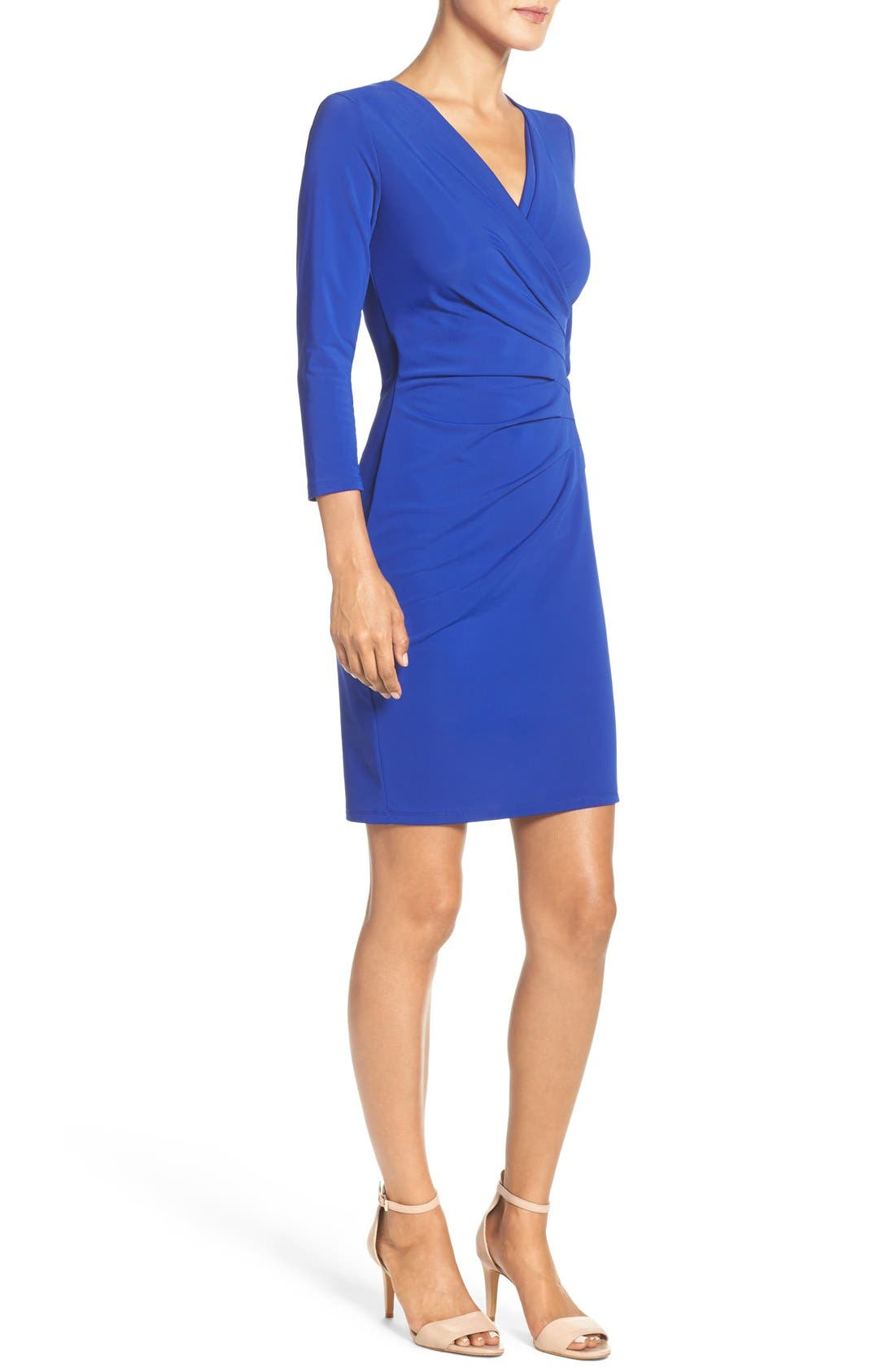 Alternate Image 3  - Adrianna Papell Stretch Faux Wrap Dress (Regular & Petite)