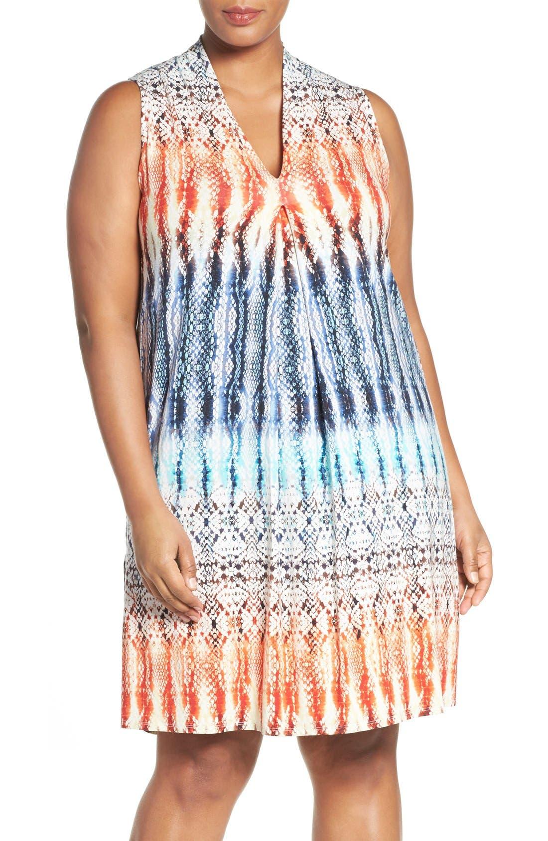 Tart 'Tara' Print Jersey A-Line Dress (Plus Size)