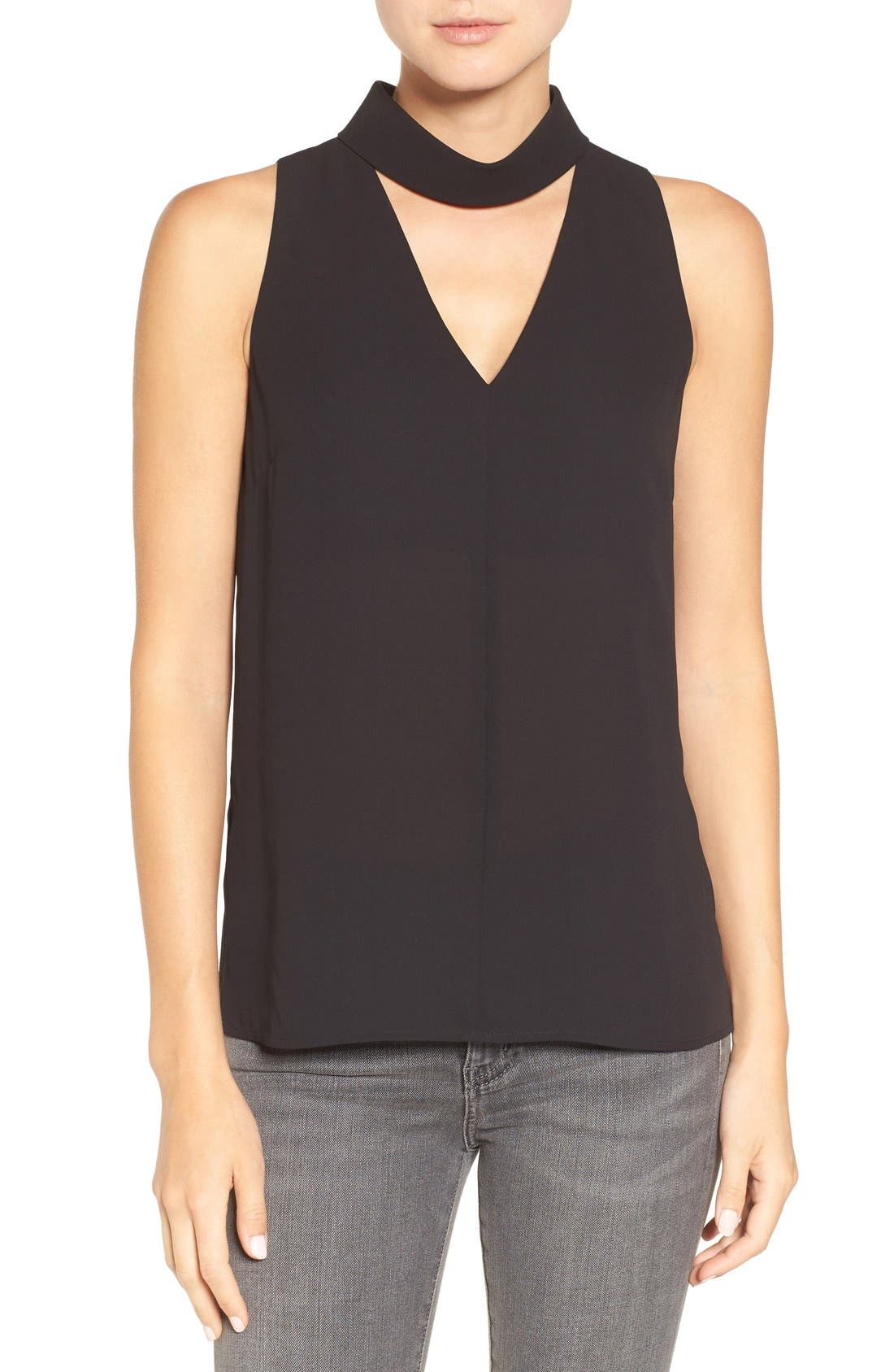 Choker Collar V-Neck Tank,                             Main thumbnail 1, color,                             Black