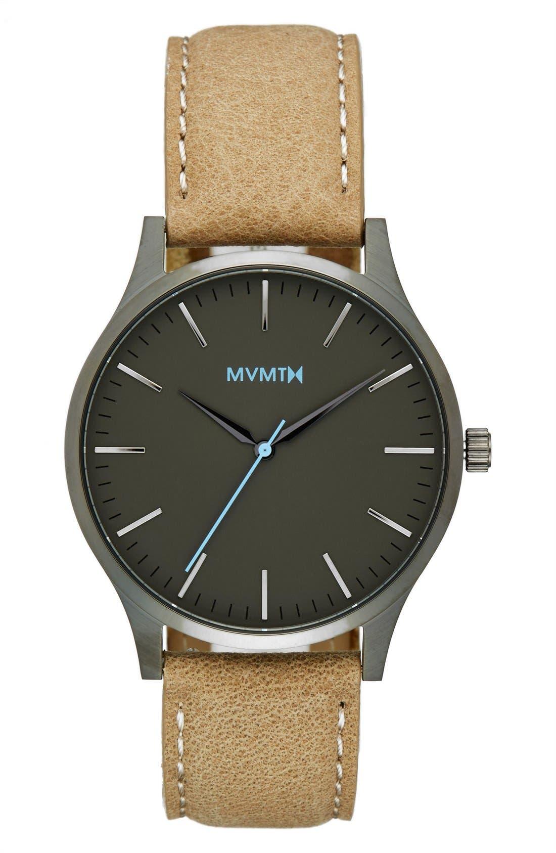 Leather Strap Watch, 40mm,                         Main,                         color, Gunmetal/ Sandstone
