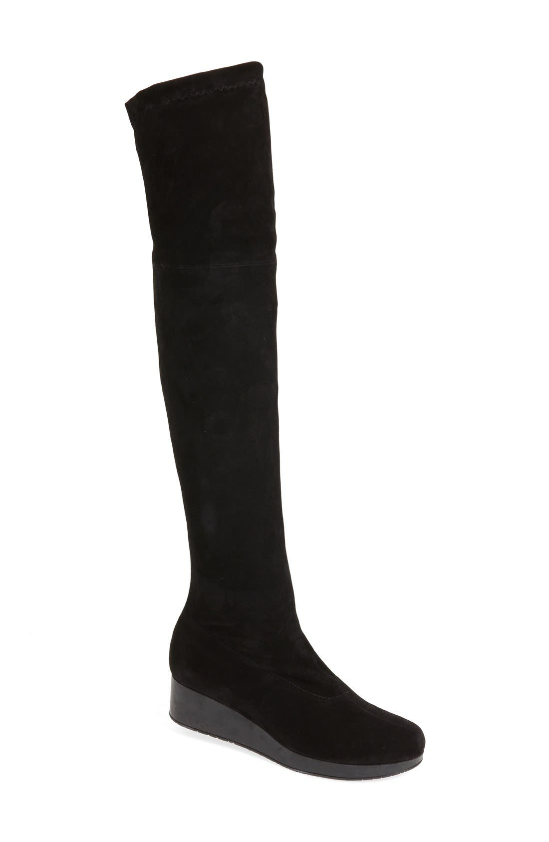 Wedge Over the Knee Boot,                         Main,                         color, Black Suede