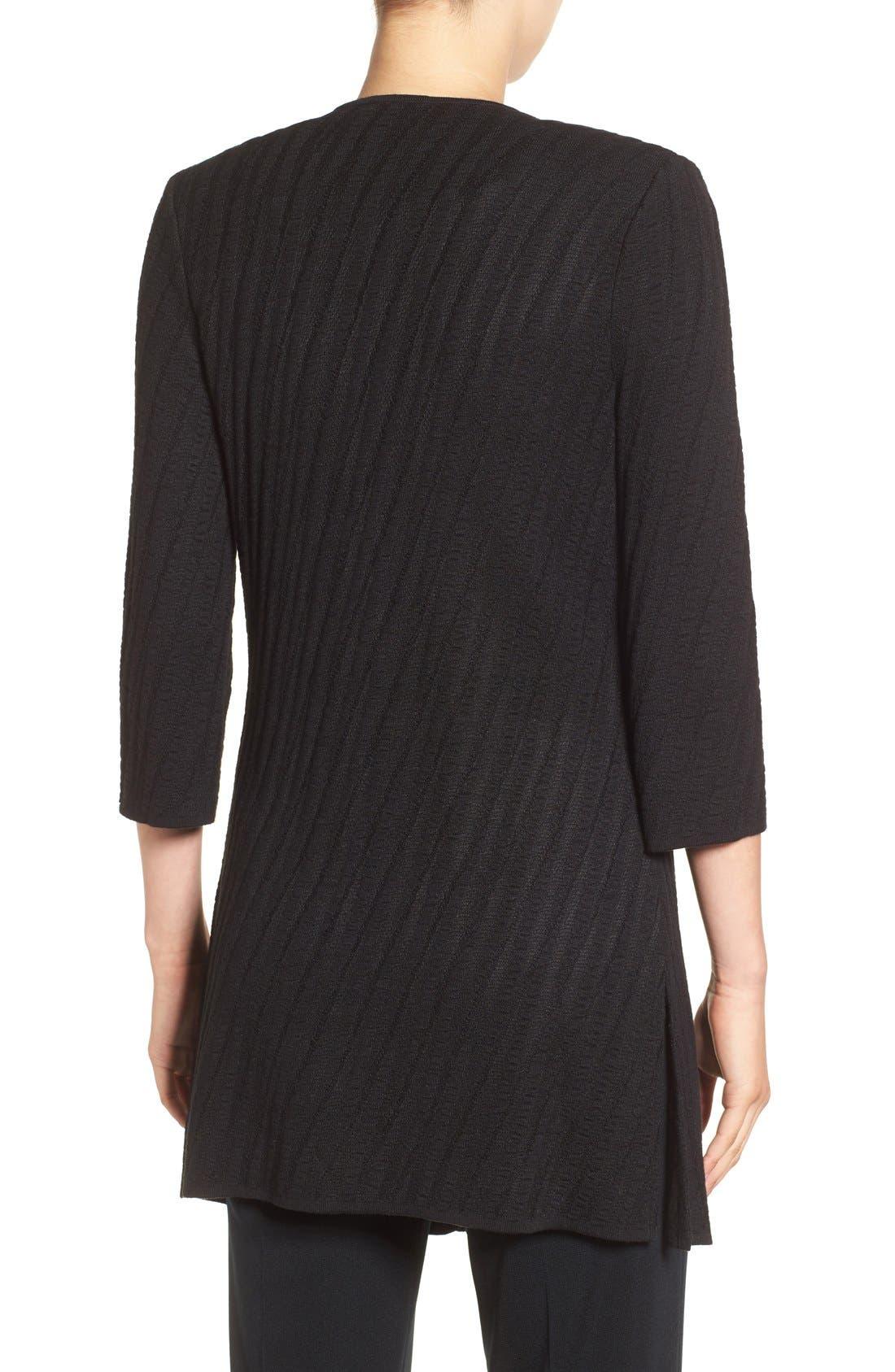 Drape Front Long Sweater Jacket,                             Alternate thumbnail 2, color,                             Black