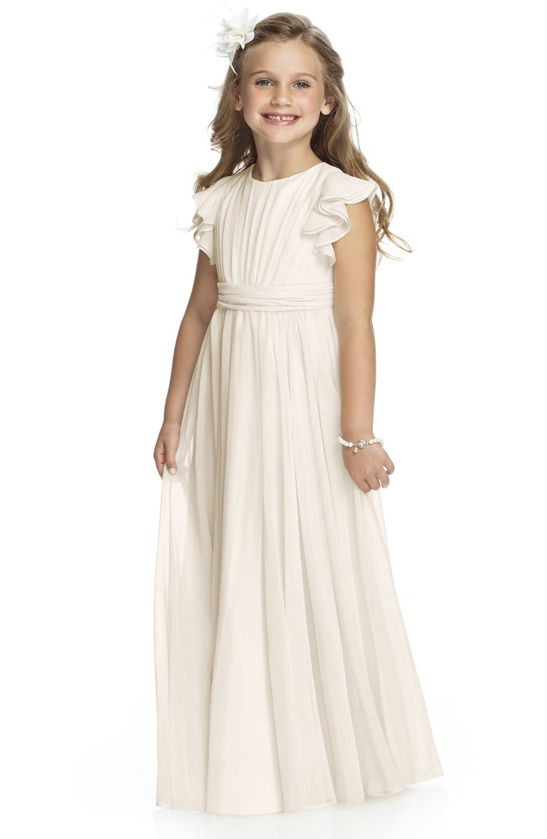 Main Image - Dessy Collection Flutter Sleeve Long Chiffon Flower Girl Dress (Toddler Girls, Little Girls & Big Girls)