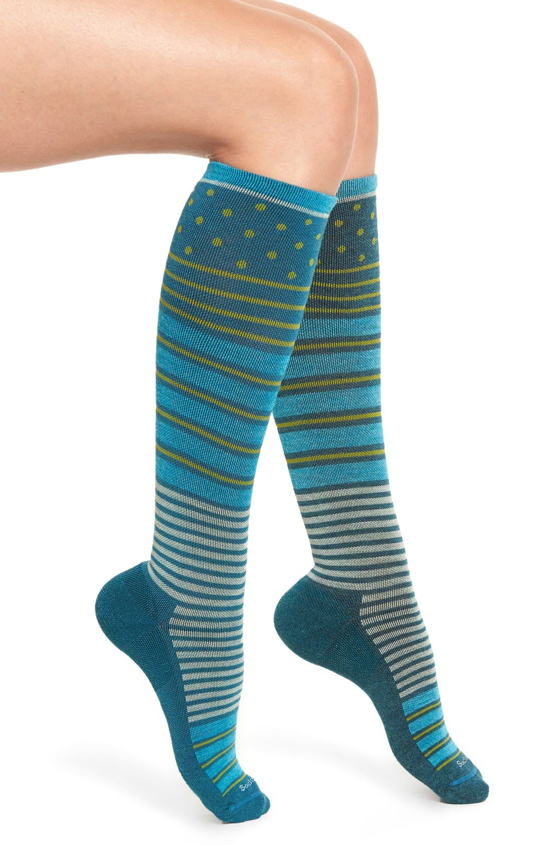 'Twister' Merino Wool Blend Compression Socks,                             Main thumbnail 1, color,                             Teal