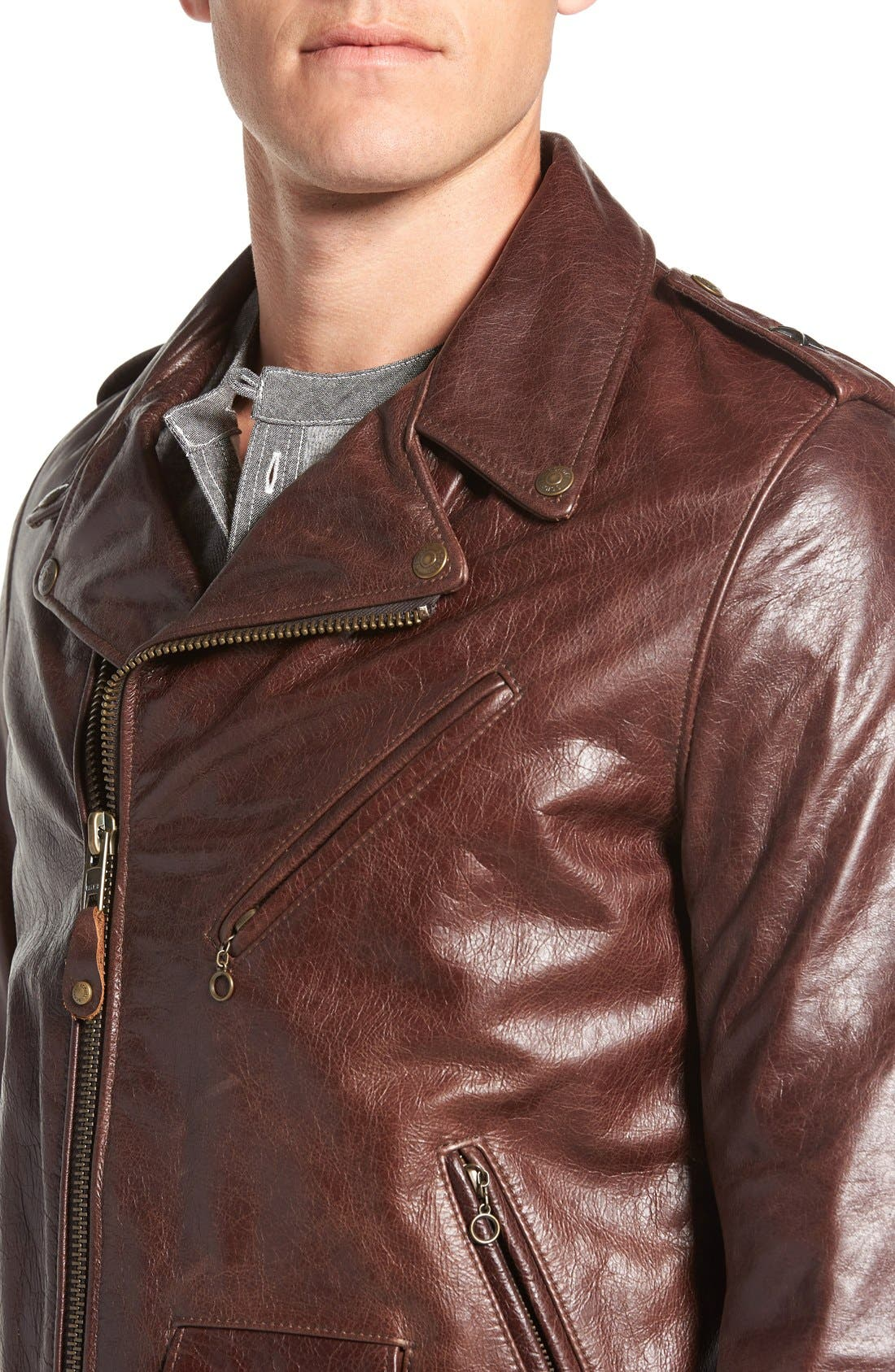 Waxy Cowhide Leather Motorcycle Jacket,                             Alternate thumbnail 4, color,                             Brown