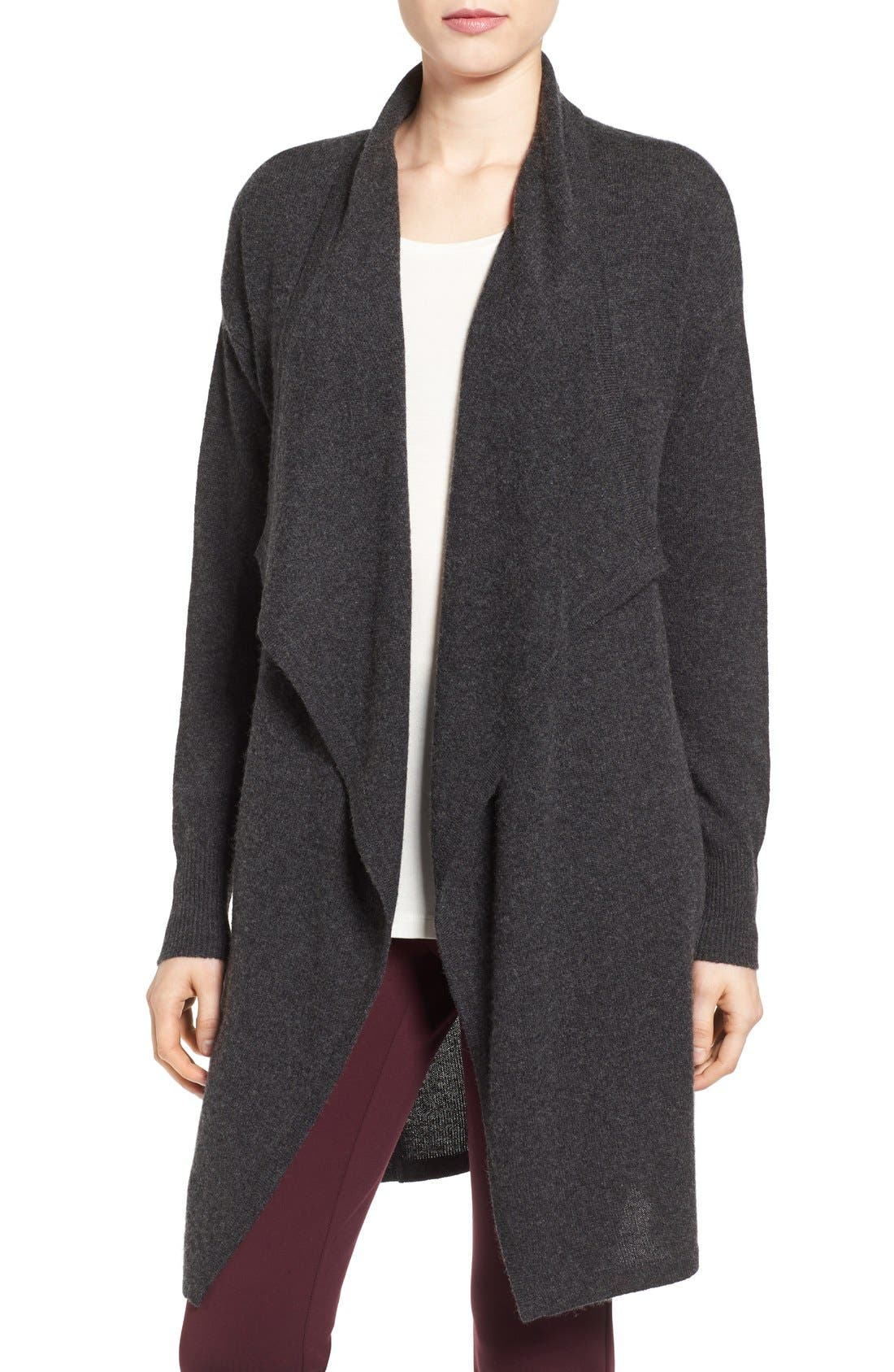 Halogen® Cashmere Long Drape Front Cardigan (Regular & Petite)