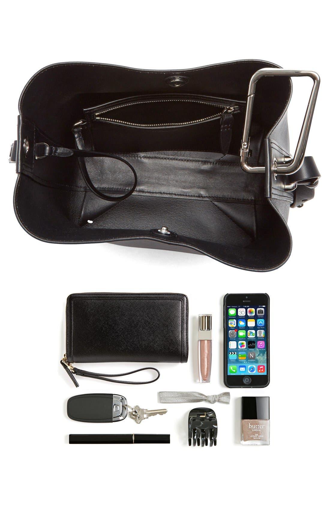 'Mini Quill' Leather Bucket Bag,                             Alternate thumbnail 7, color,                             Black