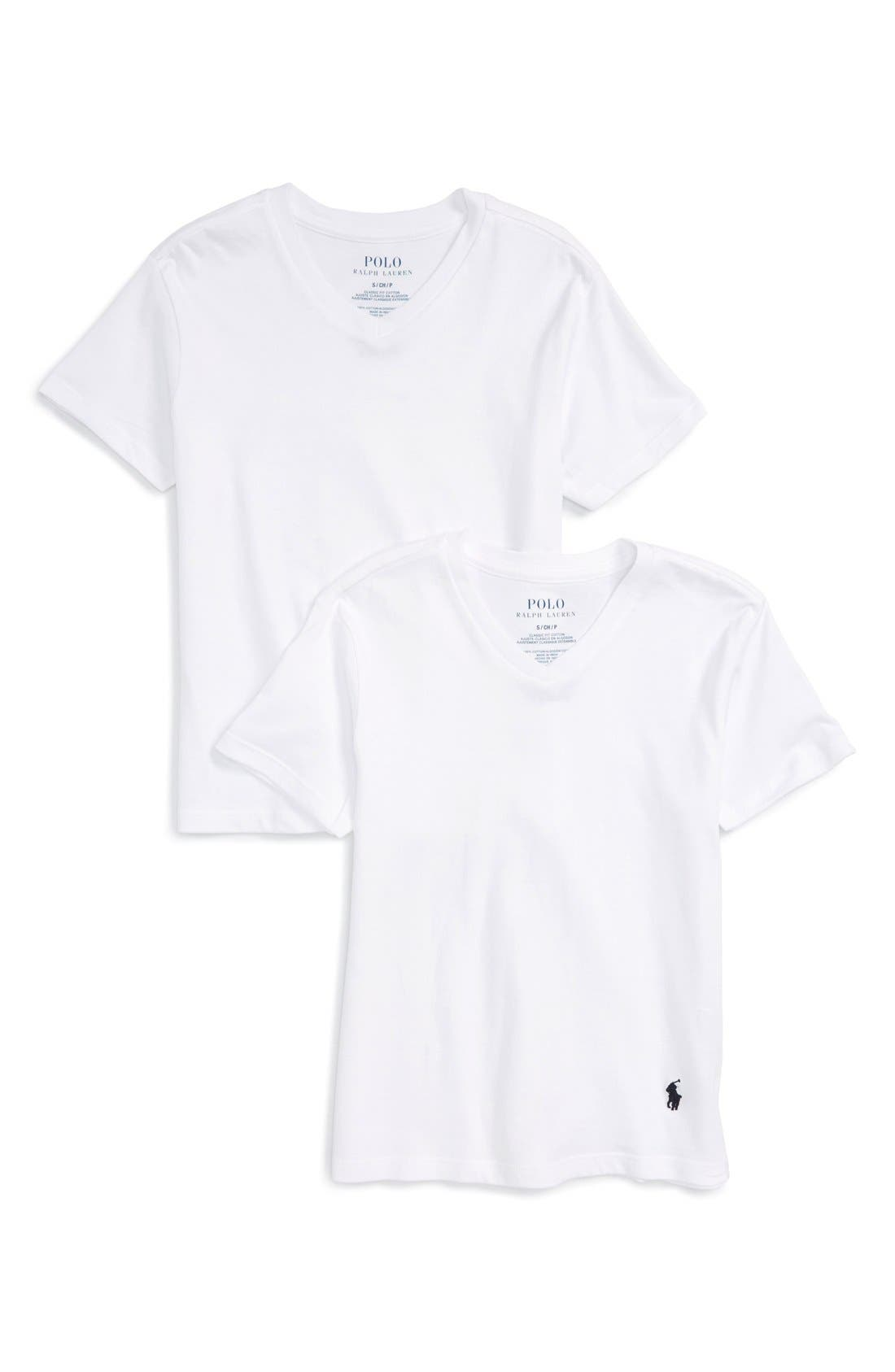 V-Neck T-Shirts,                             Main thumbnail 1, color,                             White