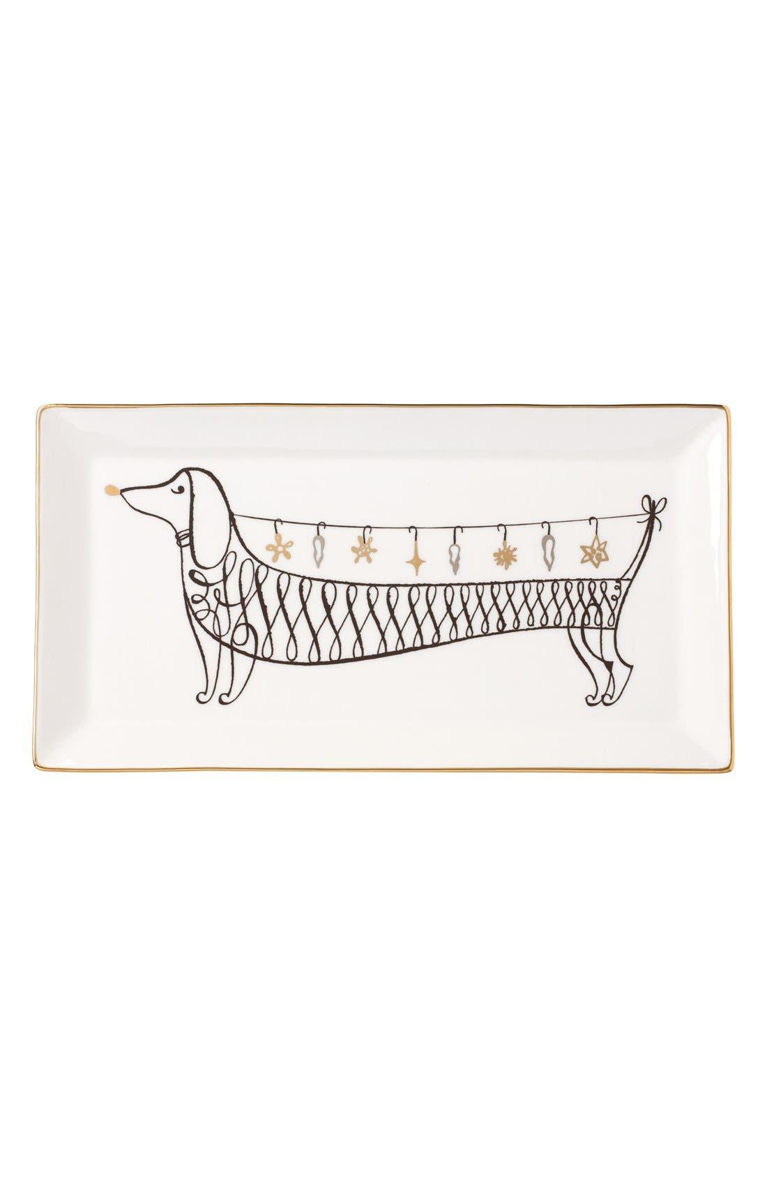 dachshund decorative porcelain tray,                         Main,                         color, Gold/ Black