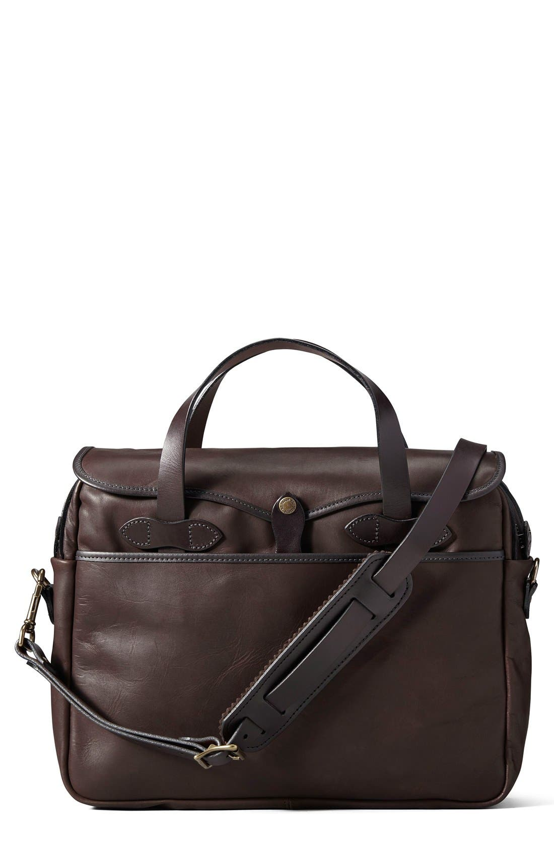 Weatherproof Leather Briefcase,                             Main thumbnail 1, color,                             Sierra Brown