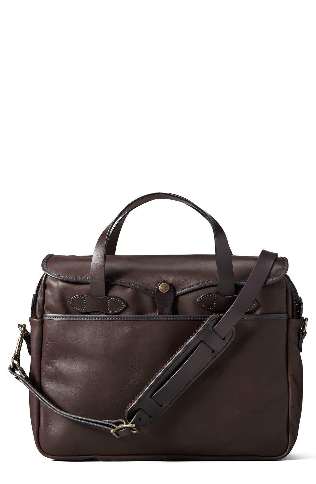 Weatherproof Leather Briefcase,                         Main,                         color, Sierra Brown