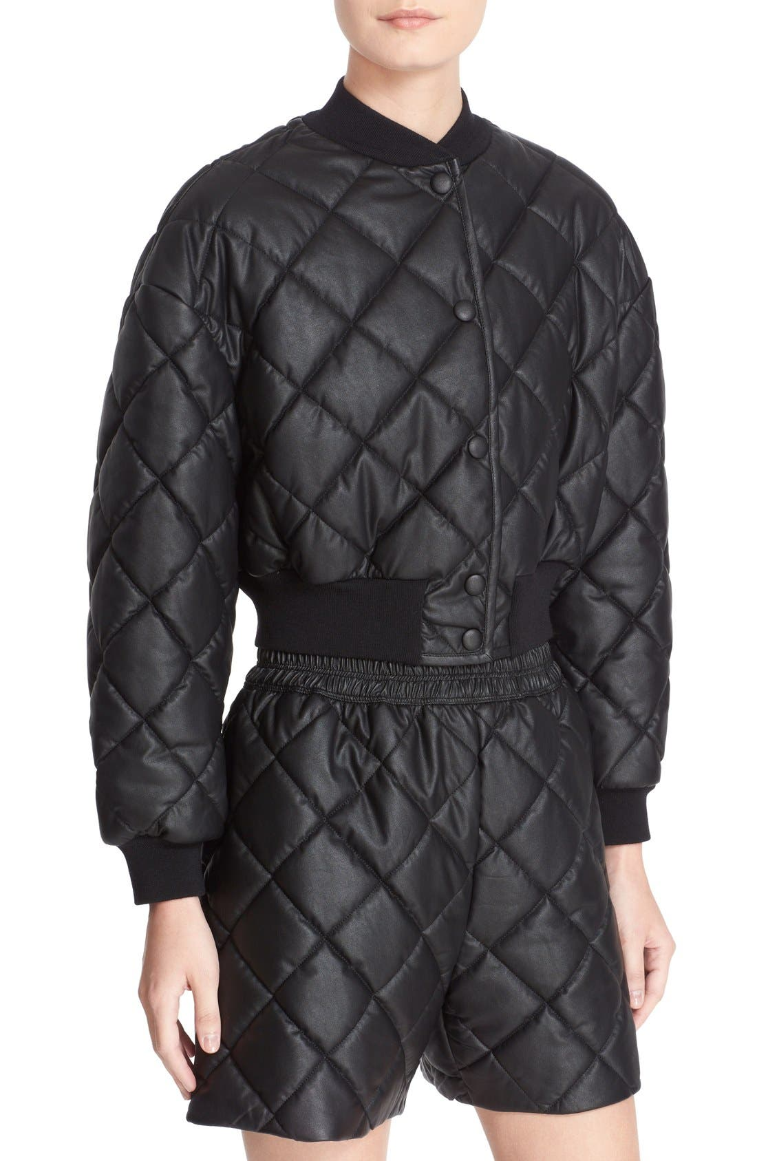 Crop Quilted Puffer Jacket,                             Alternate thumbnail 6, color,                             Black