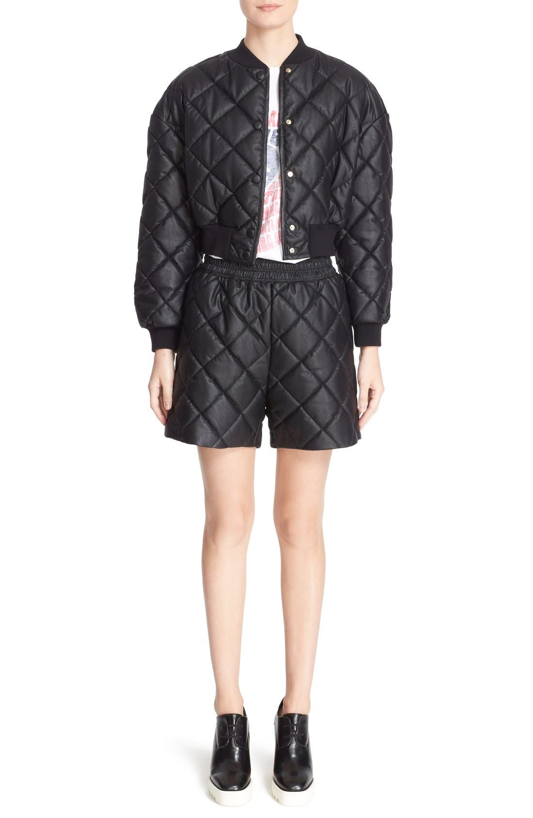 Crop Quilted Puffer Jacket,                             Alternate thumbnail 7, color,                             Black