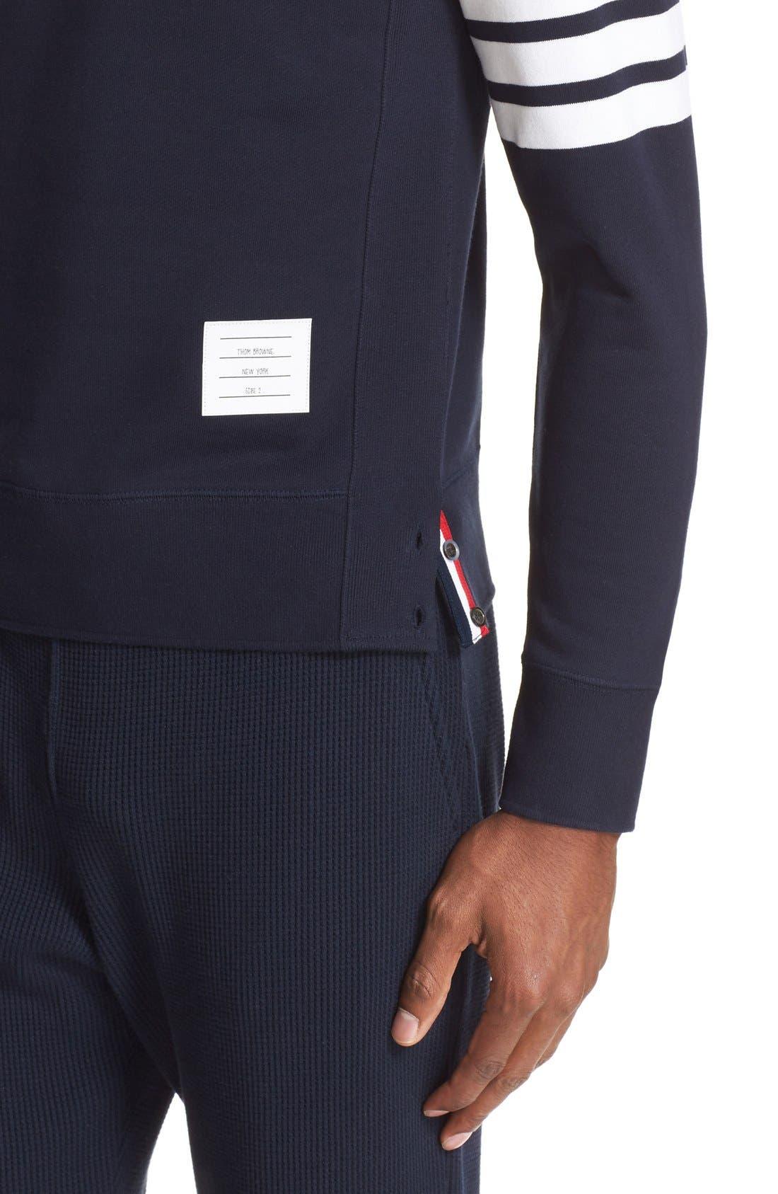 Stripe Sleeve Sweatshirt,                             Alternate thumbnail 4, color,                             Navy/ Optic White