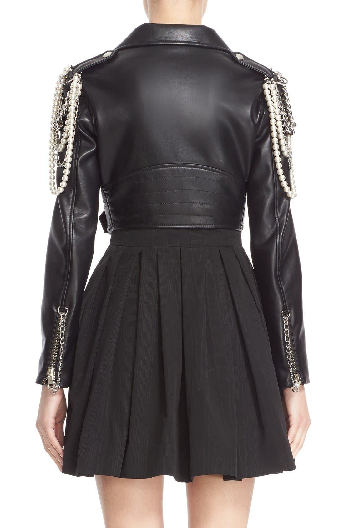 Alternate Image 2  - Moschino Chain & Imitation Pearl Embellished Faux Leather Jacket