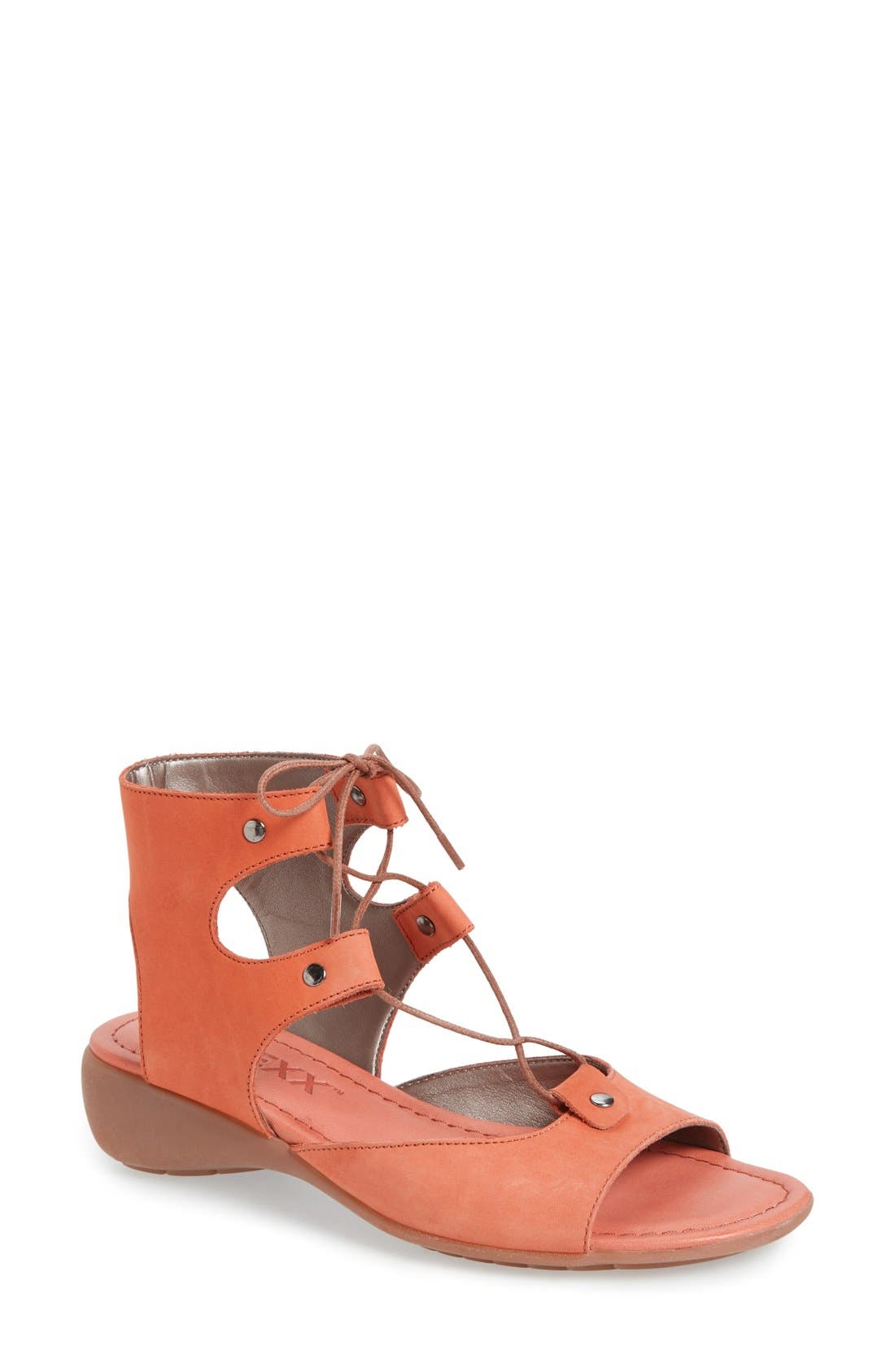 Lace-Up Gladiator Sandal,                             Main thumbnail 1, color,                             Heat Nubuck Leather