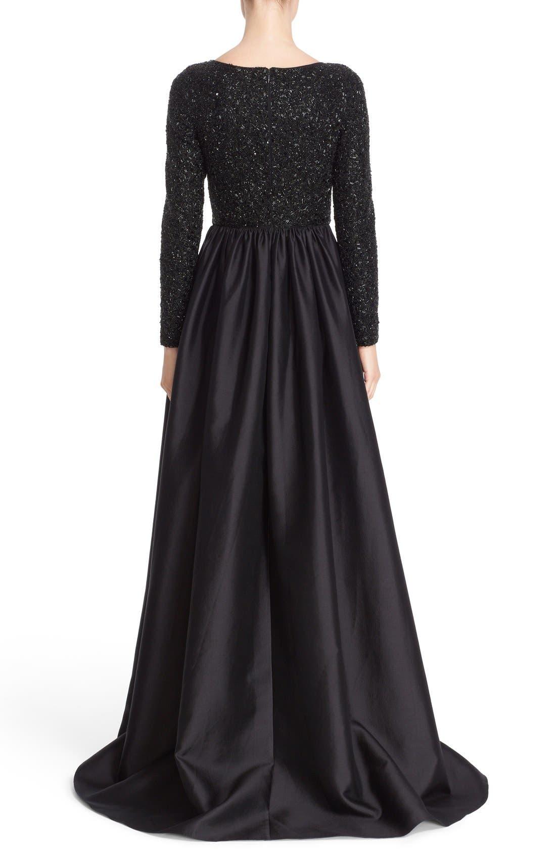 Alternate Image 2  - Badgley Mischka Couture Embellished Bodice Long Sleeve Gown