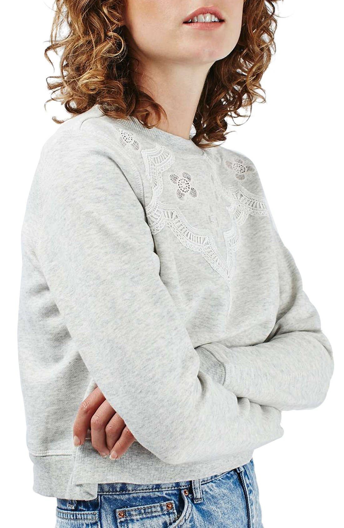Alternate Image 1 Selected - Topshop Crochet Daisy Sweatshirt